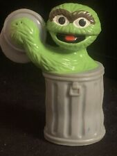 Sesame Street Oscar the Grouch Trash Can Lid Cymbals PVC Toy Figure Figurine Set