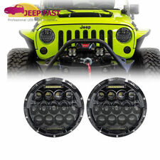For Jeep Wrangler JK 07-17 Pair 7'' LED Round Headlights Hi/Lo Beam W/DRL  TJ