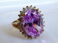 Round Clear Cubic Zirconia Fashion Ring 14K Yellow Gold Oval Pink Lavender &