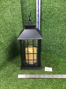 Weatherproof Black Lantern With LED Flickering Candle / Flame