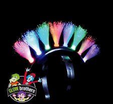 10 X  FLASHING LED PUNK MOHAWK - MOHICAN HAIR. MULTI COLOUR FIBRE OPTIC.