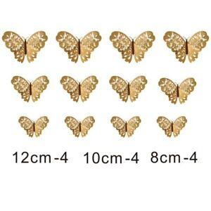 12Pcs Metal Gold Artificial Butterfly Cake Topper Cake Decoration Butterflies