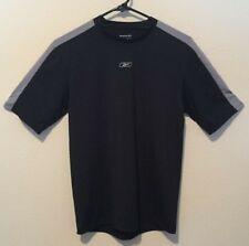 Reebok Play Dry Mens Black & Gray Short Sleeve Polyester Athletic Shirt Large