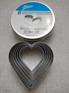 ATECO STAINLESS STEEL COOKIE CUTTERS 6 sizes HEART SHAPED