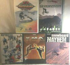5 extreme sports DVD lot snowboard mayhem XMA crashes sevenvision motosurf biker