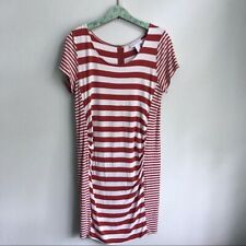 Jessica Simpson Maternity Size XL Dress Orange Striped Short Sleeve Knee Length