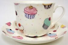 Fairy Cupcakes Cup Saucer Bone China Large Breakfast Cup Saucer Set Decorated UK