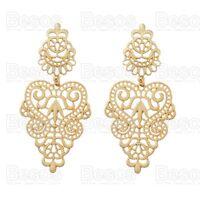 8cm OVERSIZE FILIGREE GOLD FASHION EARRINGS ornate chandelier statement UK GIFT