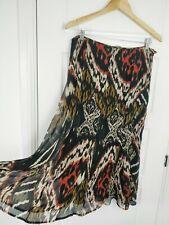 Marks & Spencer Women's Black Mix Animal Print Fit & Flared Midi Skirt Size 12