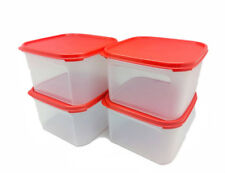 Tupperware Modular Mates Square II 2.6L Set of 4 Airtight Container Red Seal