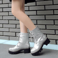 Trendy Womens Punk Sequins Round Toe Chunky Mid Heels Motorcycle Boots Plus Size