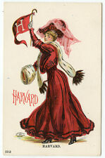 Harvard University College Girl Spirit Postcard Unsigned Christy