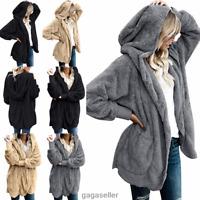 DE Damen Fleece Teddy Jacke Mantel Kapuzenjacke Kapuzen Pullover Pulli Hoodie