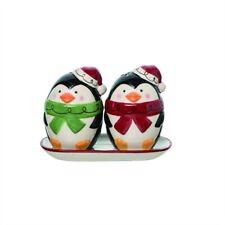 """Penguin in Santa Hats Shakers 3"""" Christmas Winter Ceramic Salt & Pepper Gift"""
