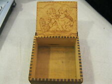 Antique Pyrography Burnt Wood Flemish Art Wooden Box Couple Man and Woman