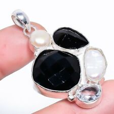 "Black Onyx, Biwa Pearl Gemstone Fashion Jewelry Pendant 1.93"" SP-2973"