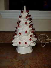 VINTAGE WHITE CERAMIC CHRISTMAS TREE AND BASE WITH RED BULBS--10.25""