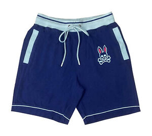Psycho Bunny Men's Normandy Navy Big Bunny Woven Jam Lounge Shorts