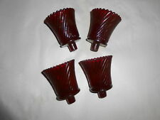 Four Home Interior Ruby Red Swirl Design Votive Cups