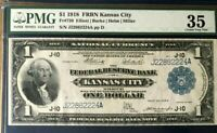 SERIES 1918 $1 FRBN PMG35 CHOICE VERY FINE, FEDERAL RESERVE BANK OF KANSAS CITY