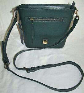 Dooney & Bourke Ivy Green Saffiano Leather Small Zip Crossbody Shoulder Bag Tote