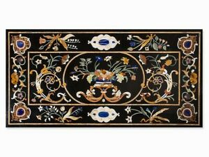 Black Marble Dining Table Top Inlay Floral Marquetry Handicraft Art Outdoor Deco