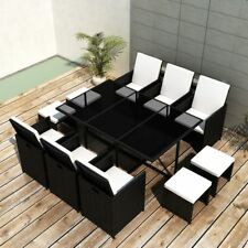 Patio Rattan Wicker Dining Set Outdoor Furniture Table 6 Chairs 4 Stools Black