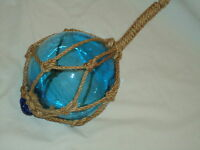 Glass Turquoise Fishing Boat Net Float Buoy Blown Glass Ball - Bathroom Garden