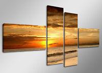 Tableau Déco Moderne Océan Mer Soleil 4 partie Image sur toile 160 x 70cm