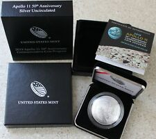2019 Apollo 11 Silver BU US Mint One Dollar CURVED Commemorative Coin Box & COA