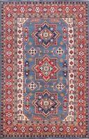 Geometric Vegetable Dye Super Kazak Oriental Area Rug Hand-knotted Wool 6'x10'