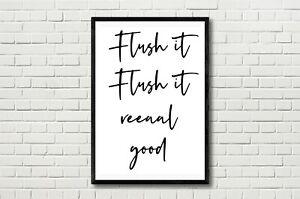Flush It Real Good Funny Bathroom Typography  Poster Print Home Decor Wall Art