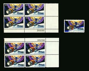 #1529 1974 10c EFO Skylab Color Shift Errors, Single & 2 Plate # Blocks MNH