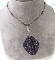 """Vintage 925 Sterling Silver and Pressed Glass Pendant Necklace chain: 20"""""""