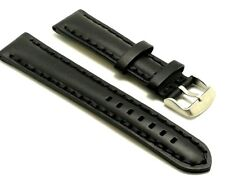 22mm Black Leather Thick Stitching Replacement Watch Strap