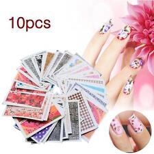 Set 10pcs Decal eau Transfert ongles Nail Art Stickers DIY Astuces Décoration AH