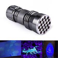 21 LED 395nm UV Ultra Violet Flashlight Torch Scorpion Detector Blacklight Lamp