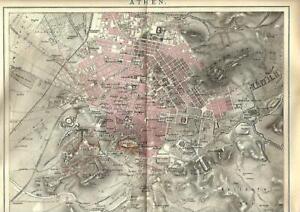 1893 Antica Mappa Topografica = ATENE = GRECIA =  OLD MAP