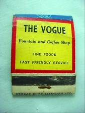 1949 Welcome to Halifax The Vogue Fountain Coffee Shop Advertising Matchbook