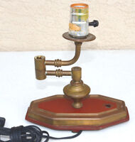 Vintage Brass Table Lamp Base Articulating Arm Heavy Old Steam Parts AS IS