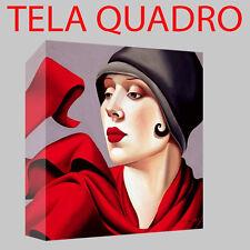 QUADRO MODERNO TELA 90X90 TAMARA DE LEMPICKA ARTE RED PITTRICE SCULTURE