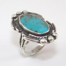 Native American Sterling Silver Blue Turquoise Bead Ball Ring Size 6.5 SFJ