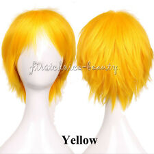 Unisex Ombre Short Hair Wig Straight Anime Cosplay Costume Full Wig Dark Root fv