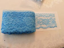 "Lace trim #444 Raschel 4"" flat Bonnie Blue scalloped edge polyester 5 3/4 yd"