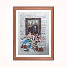 Asterix and  Obelix vs  Grant Wood - American Gothic  - dictionary art print