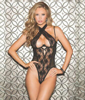 Shirley of Hollywood Crossneck Open-Back Teddy Lingerie - Women's #25573