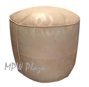 MPW Plaza Pouf, Tabouret, Natural, Moroccan Leather Ottoman (Stuffed)
