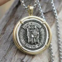 Heavy Saint Michael Medal Handmade Travelers Pendant Necklace Box Chain Guardian