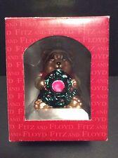 Fitz & Floyd Classics Glass Christmas Lodge Bear Ornament New!