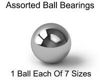 "Chrome Ball Bearing Assortment - 1 Each Of 7 Sizes - 3/8"" through 1-1/2"""
